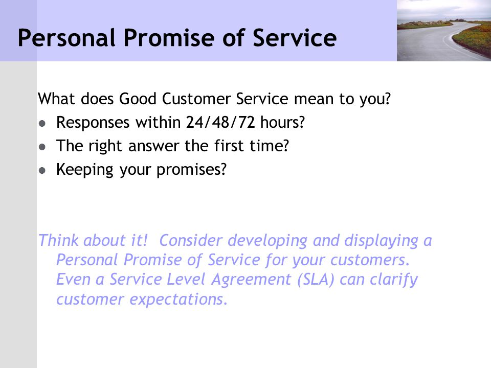 Personal Promise of Service