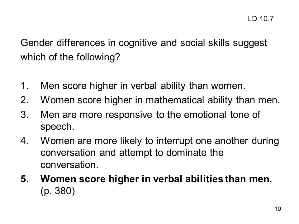 Gender differences in cognitive and social skills suggest