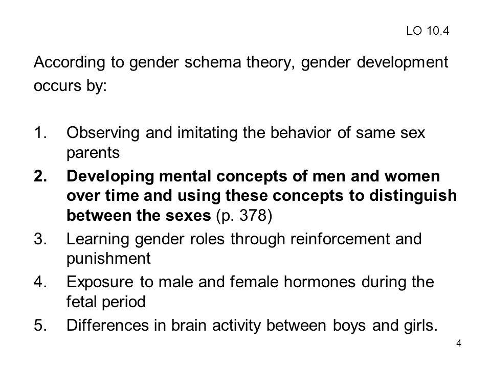 According to gender schema theory, gender development occurs by: