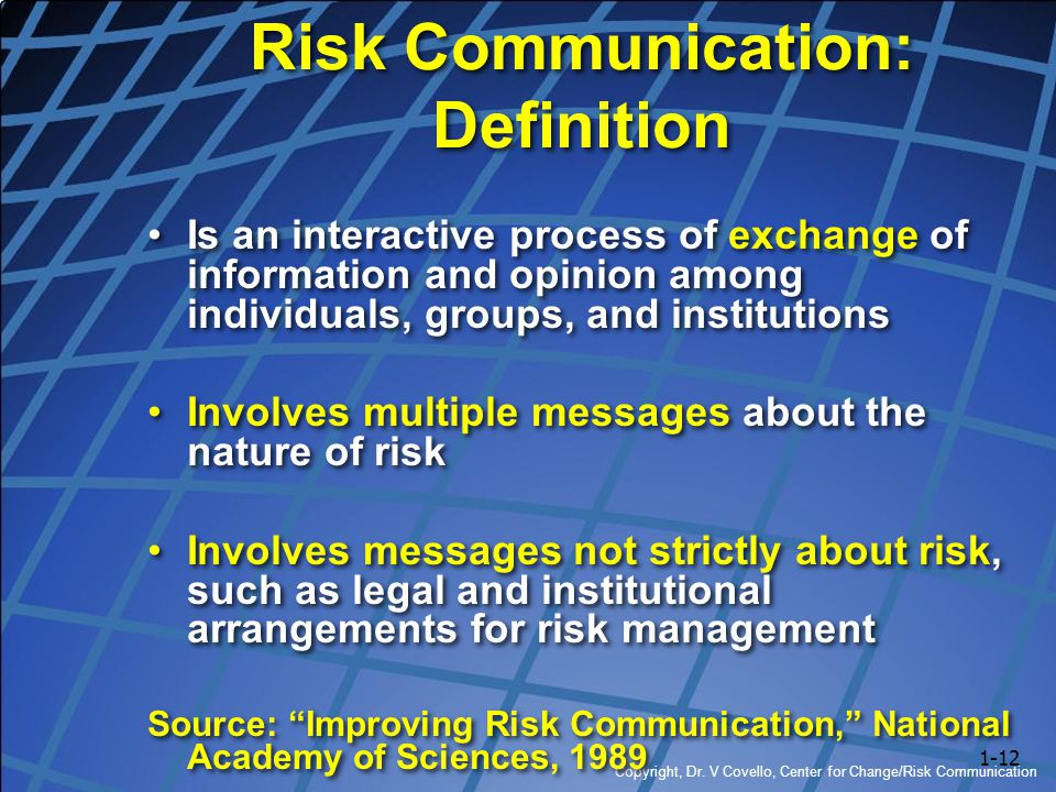 Risk Communication: Definition