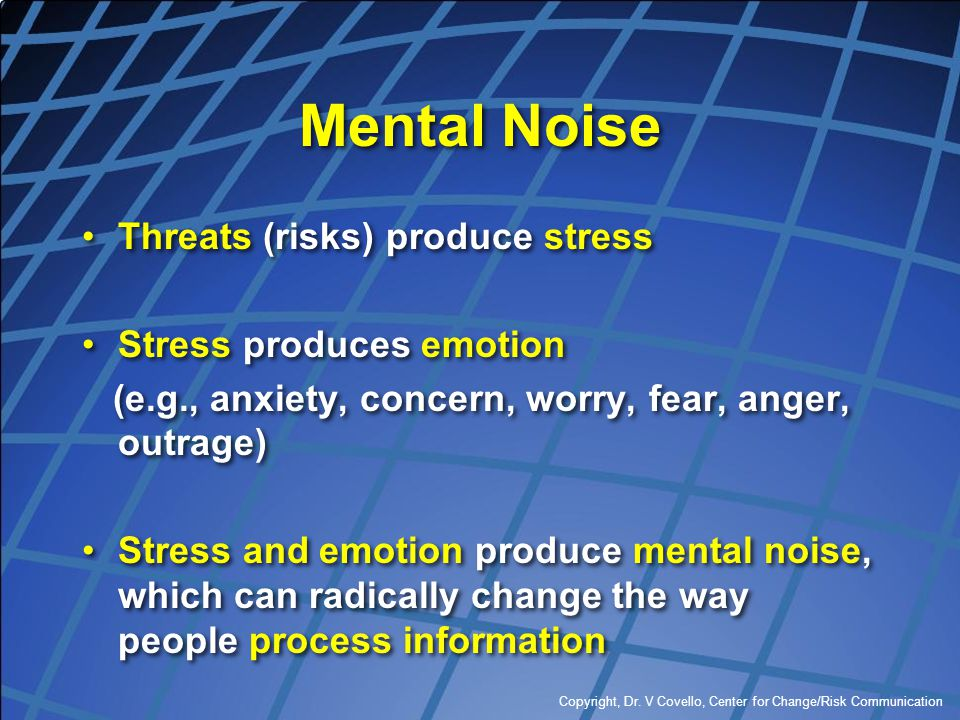 Mental Noise Threats (risks) produce stress Stress produces emotion