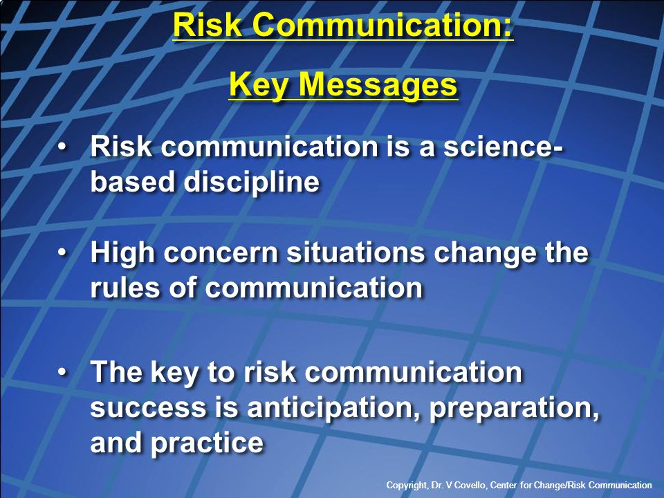 Risk Communication: Key Messages