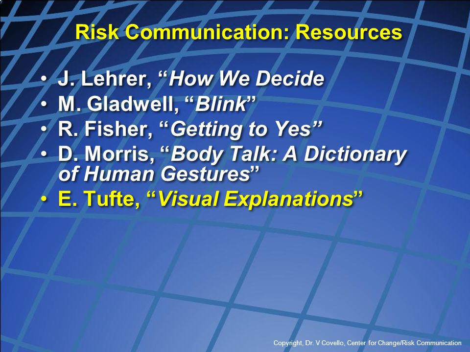 Risk Communication: Resources