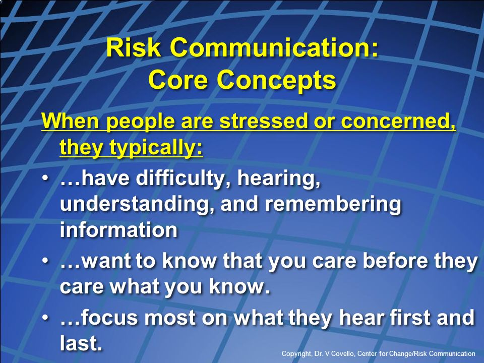 Risk Communication: Core Concepts