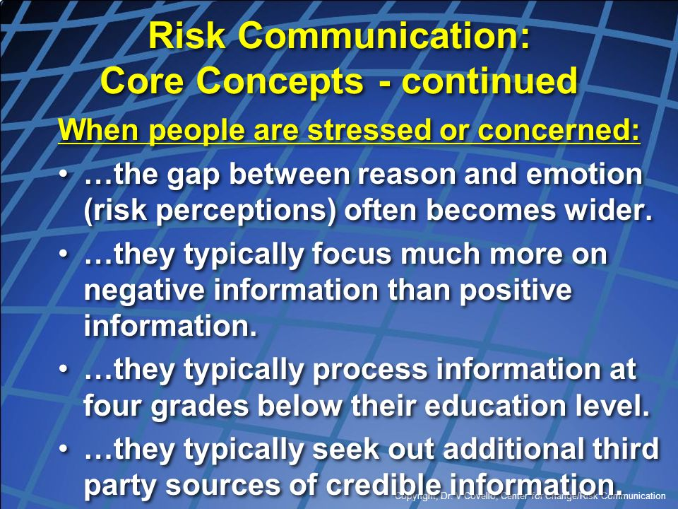 Risk Communication: Core Concepts - continued