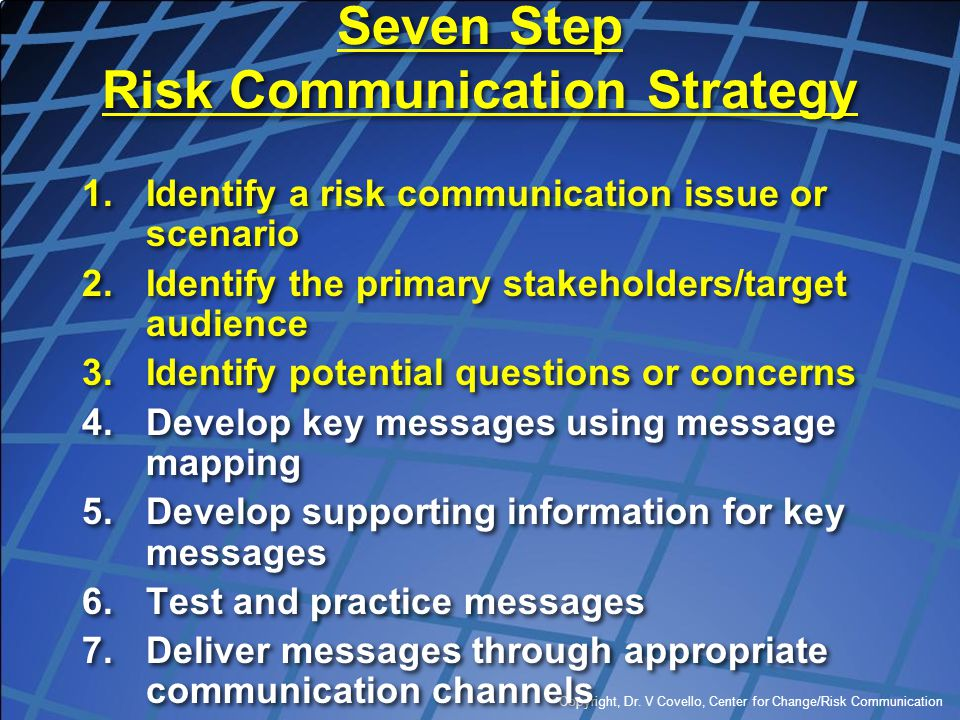 Seven Step Risk Communication Strategy