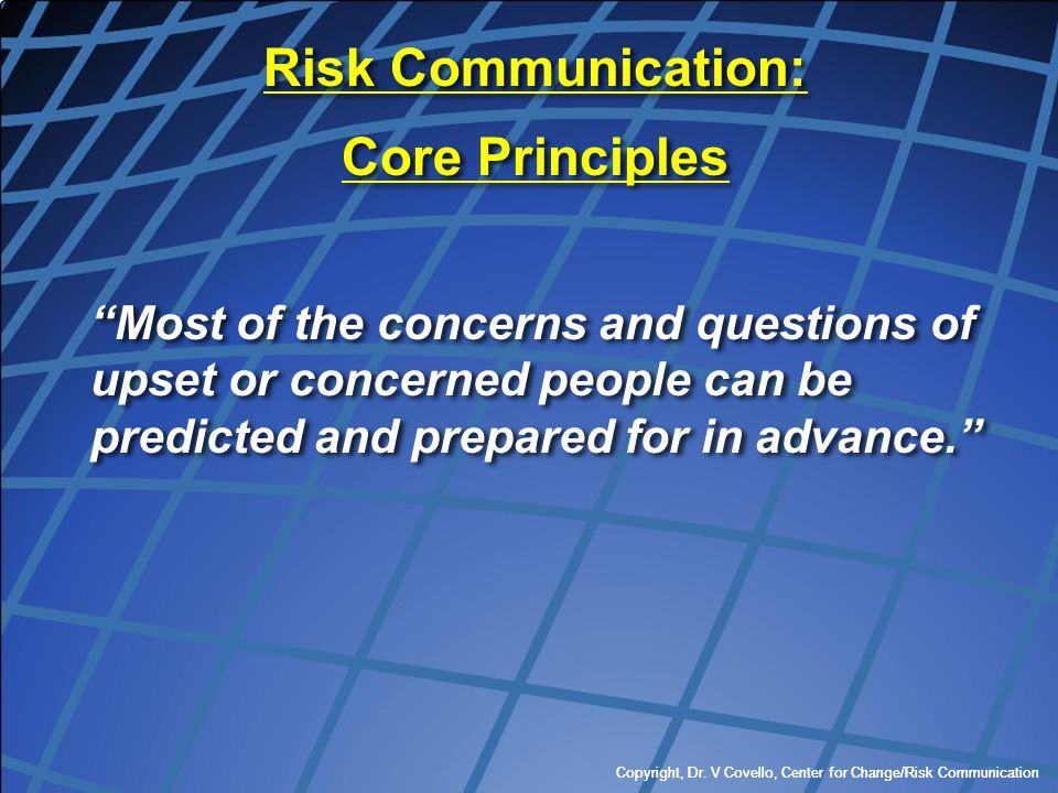Risk Communication: Core Principles