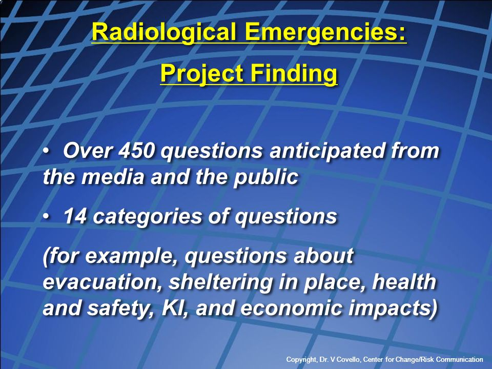 Radiological Emergencies:
