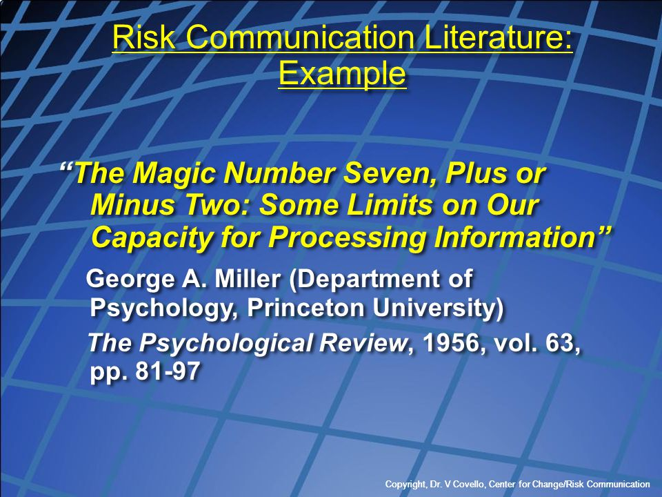 Risk Communication Literature: Example