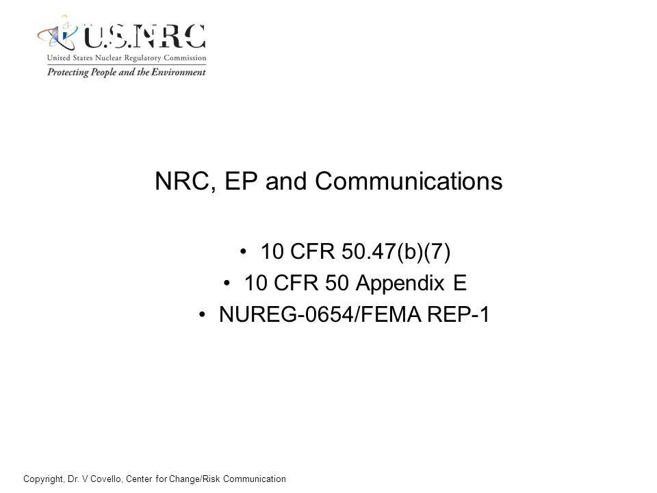 NRC, EP and Communications