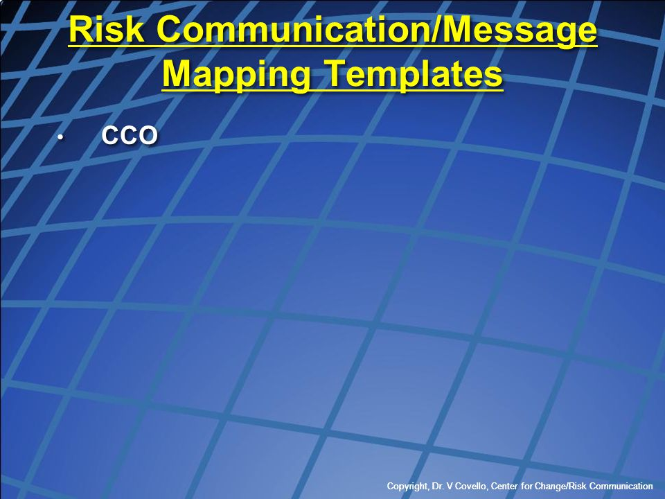 Risk Communication/Message Mapping Templates
