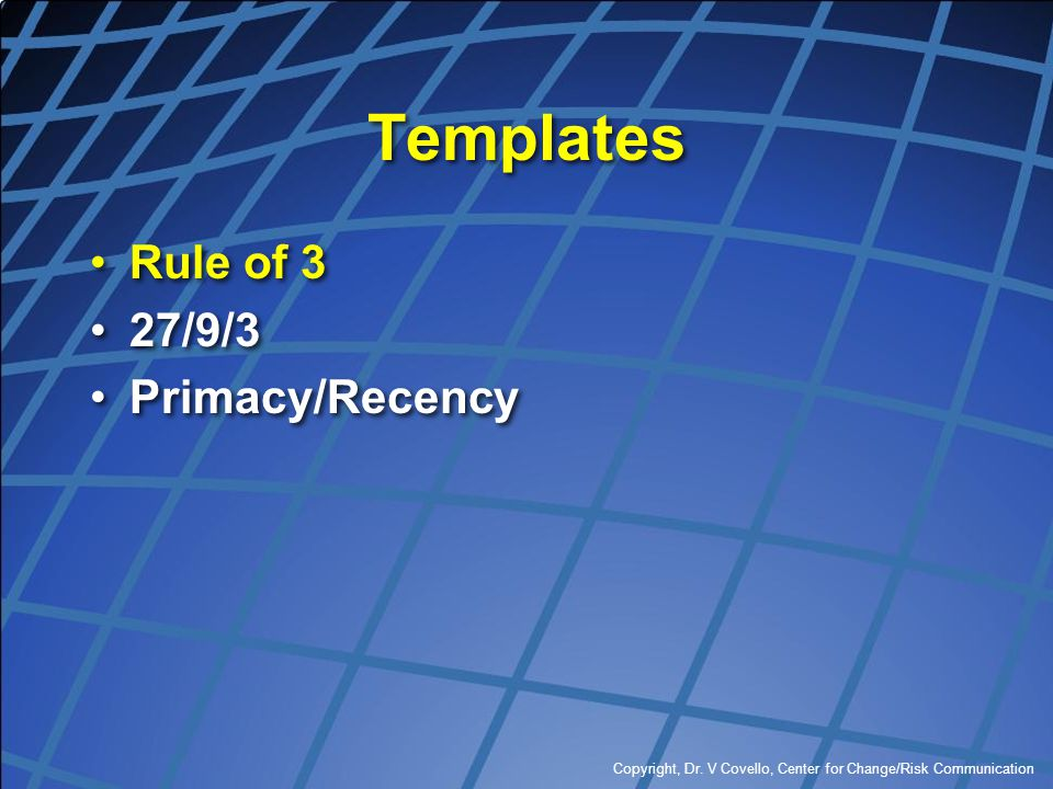 Templates Rule of 3 27/9/3 Primacy/Recency