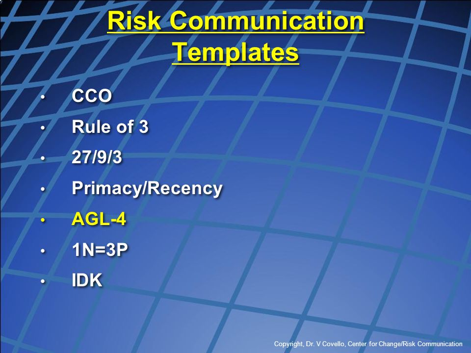 Risk Communication Templates