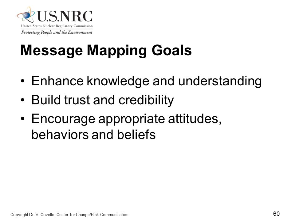 Message Mapping Goals Enhance knowledge and understanding