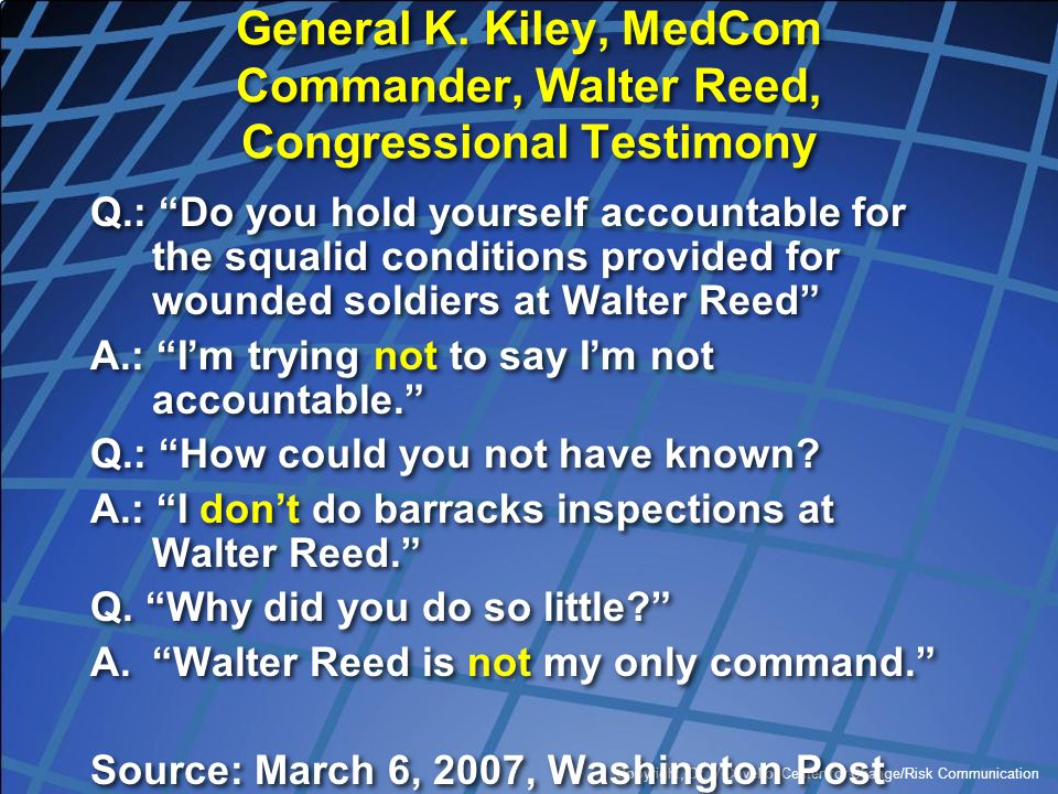 General K. Kiley, MedCom Commander, Walter Reed, Congressional Testimony
