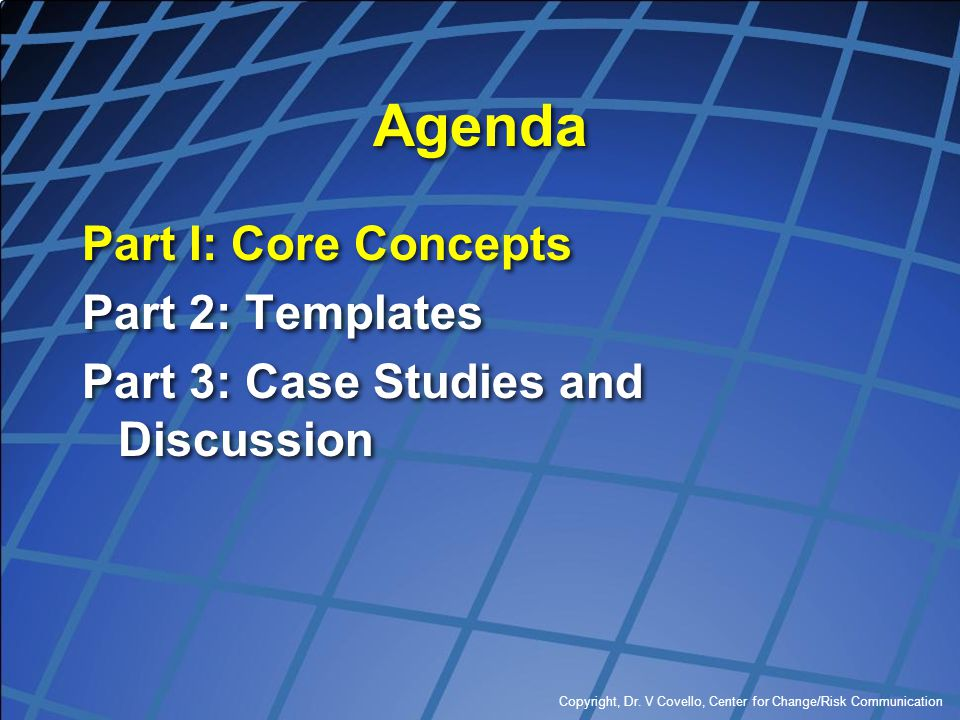 Agenda Part I: Core Concepts Part 2: Templates