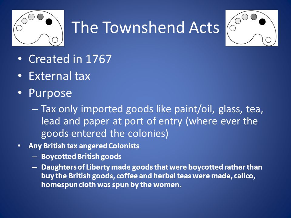 The Townshend Acts Created in 1767 External tax Purpose