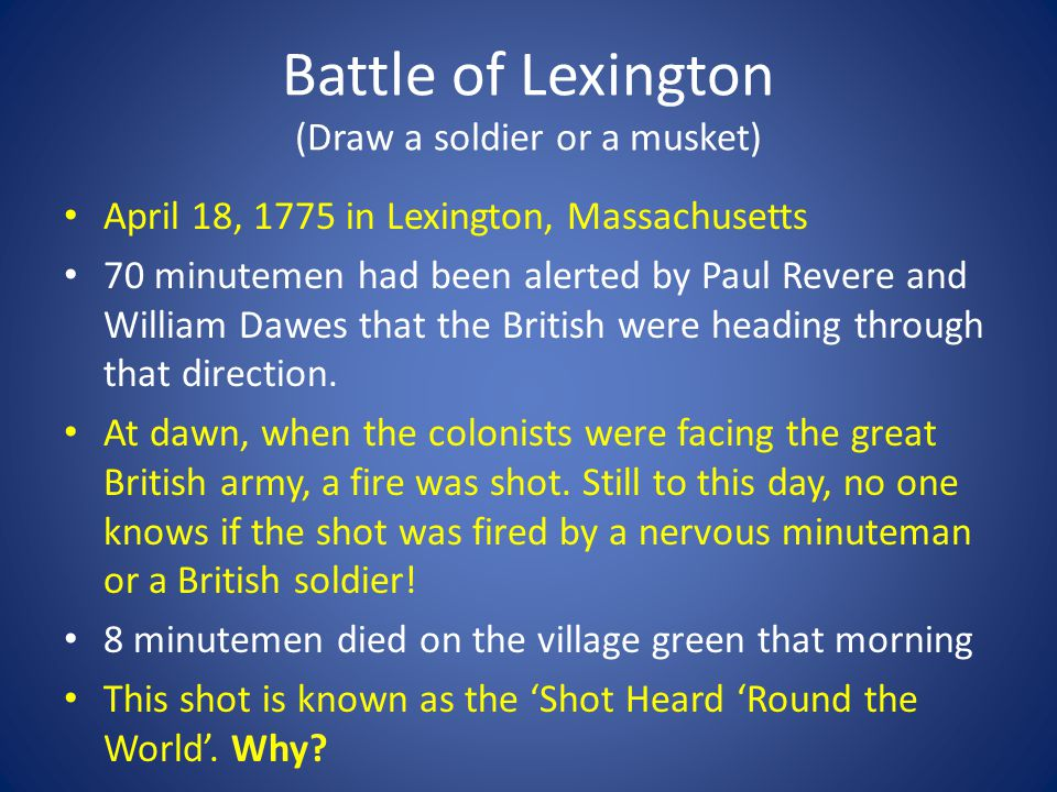 Battle of Lexington (Draw a soldier or a musket)
