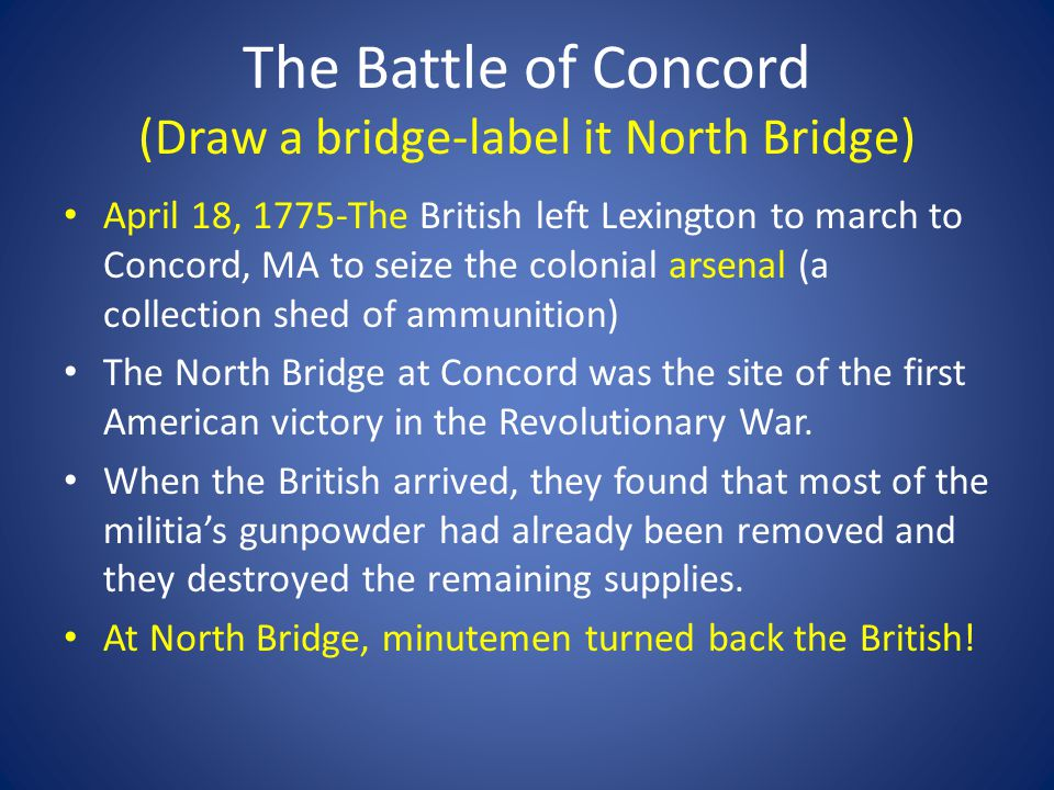The Battle of Concord (Draw a bridge-label it North Bridge)