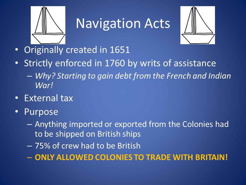 Navigation Acts Originally created in 1651