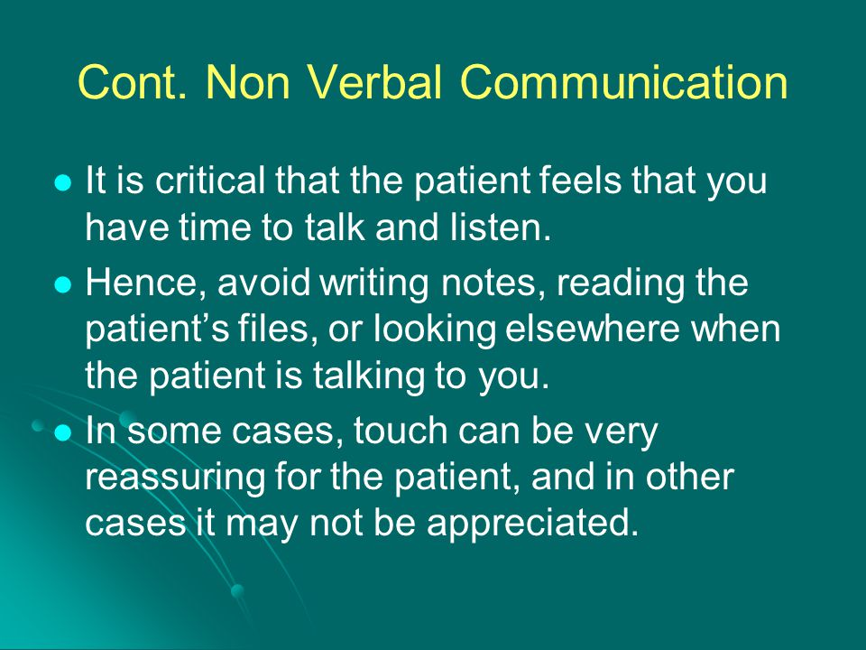 Cont. Non Verbal Communication