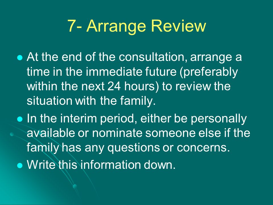 7- Arrange Review