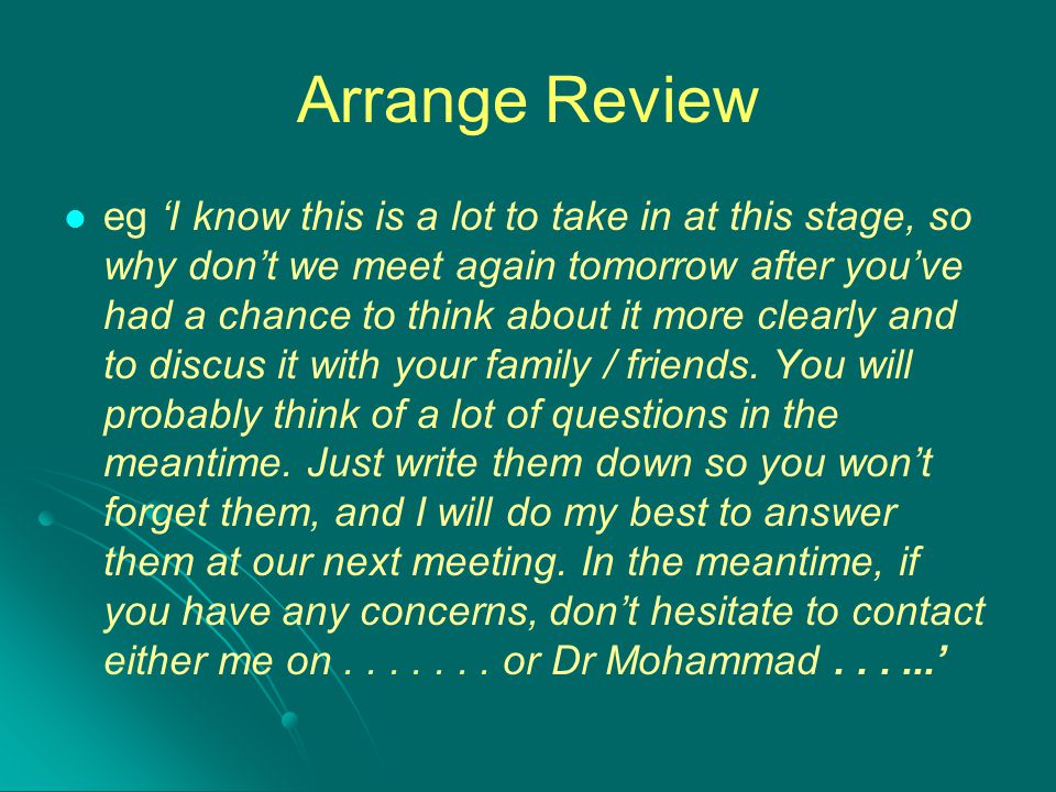 Arrange Review