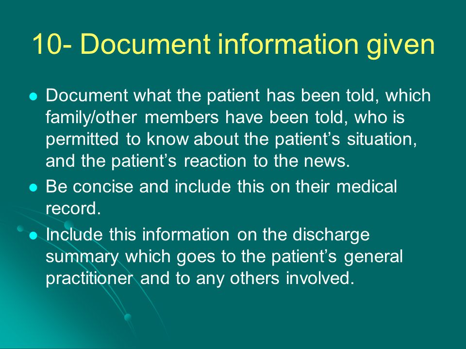 10- Document information given