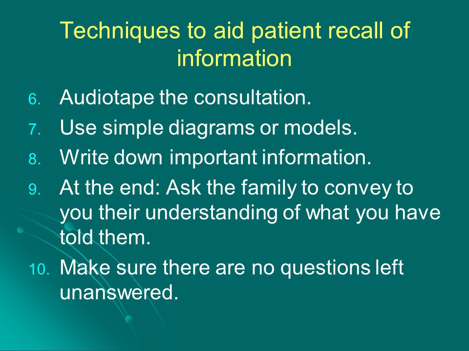 Techniques to aid patient recall of information