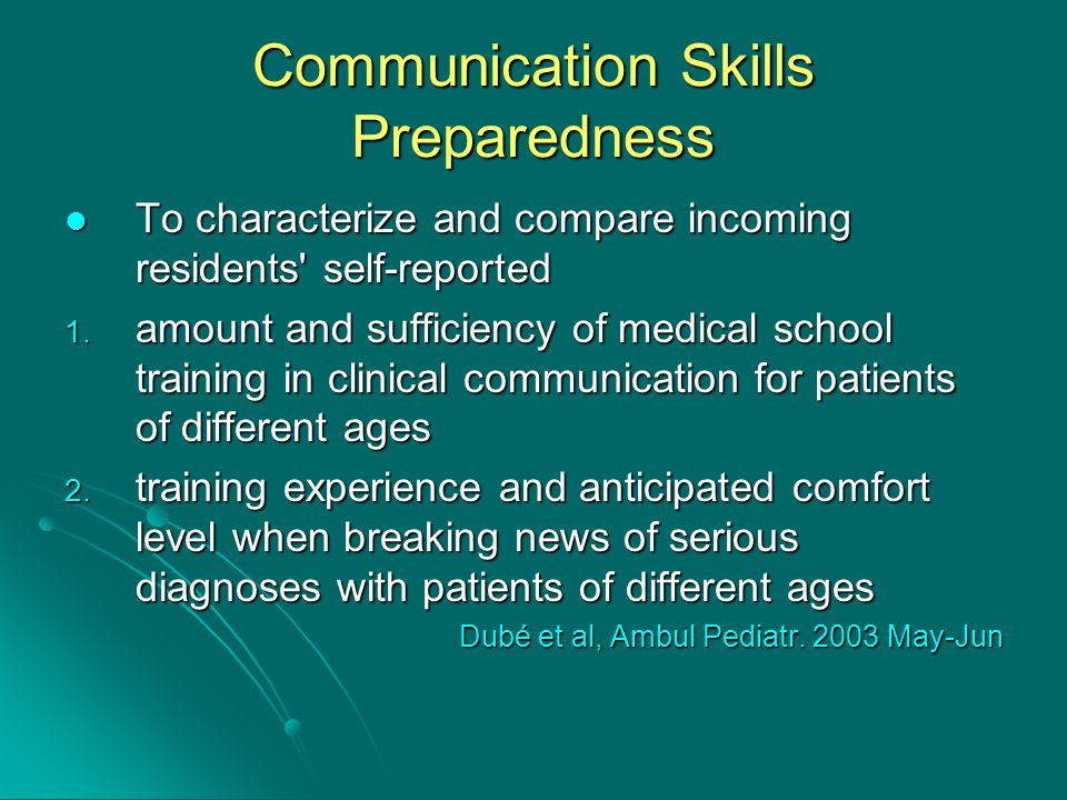 Communication Skills Preparedness