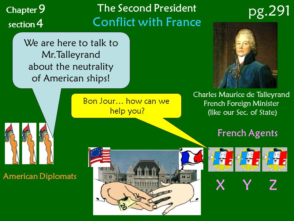 pg.291 X Y Z Conflict with France The Second President