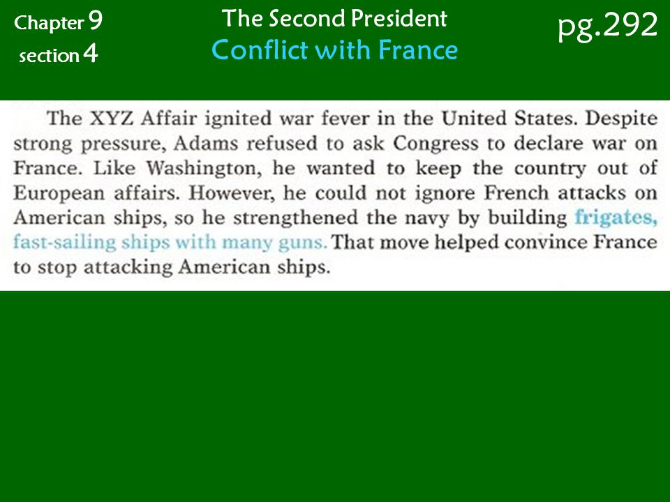 Chapter 9 section 4 pg.292 The Second President Conflict with France