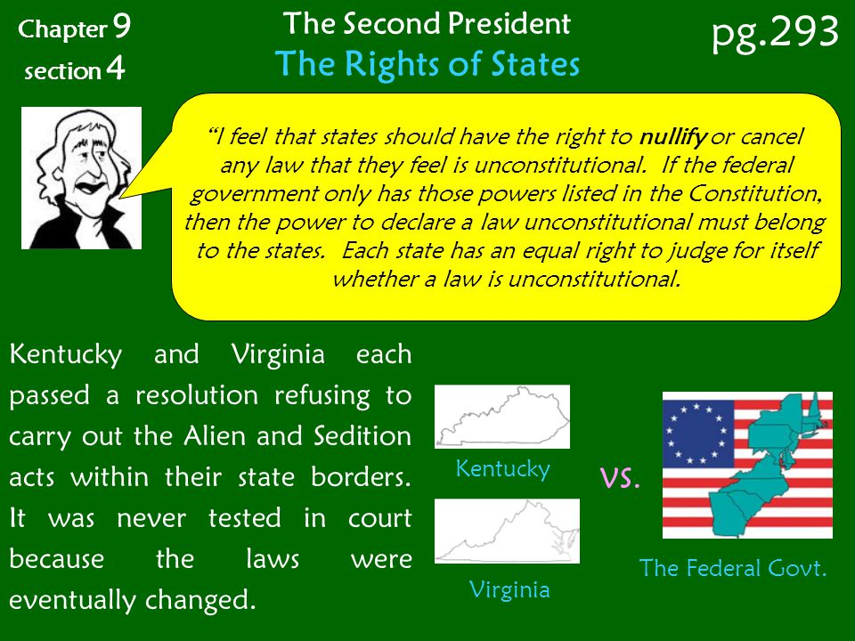 pg.293 The Rights of States The Second President