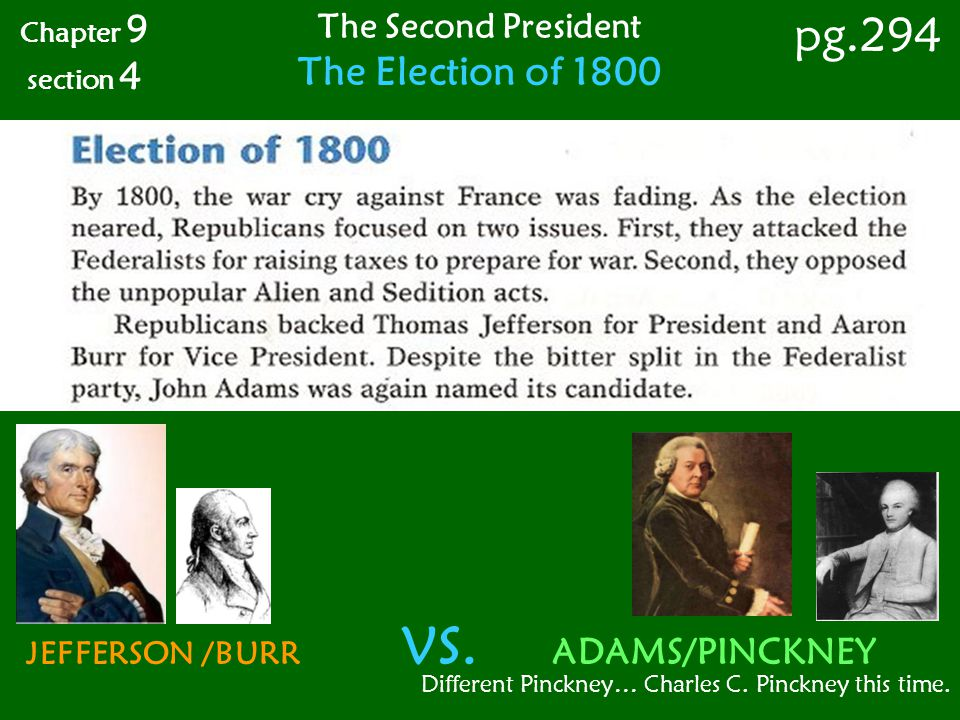pg.294 The Election of 1800 The Second President