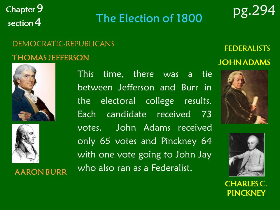 Chapter 9 section 4. pg.294. The Election of 1800. DEMOCRATIC-REPUBLICANS. THOMAS JEFFERSON. FEDERALISTS.