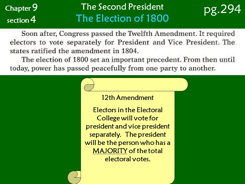 pg.294 The Election of 1800 The Second President Chapter 9 section 4