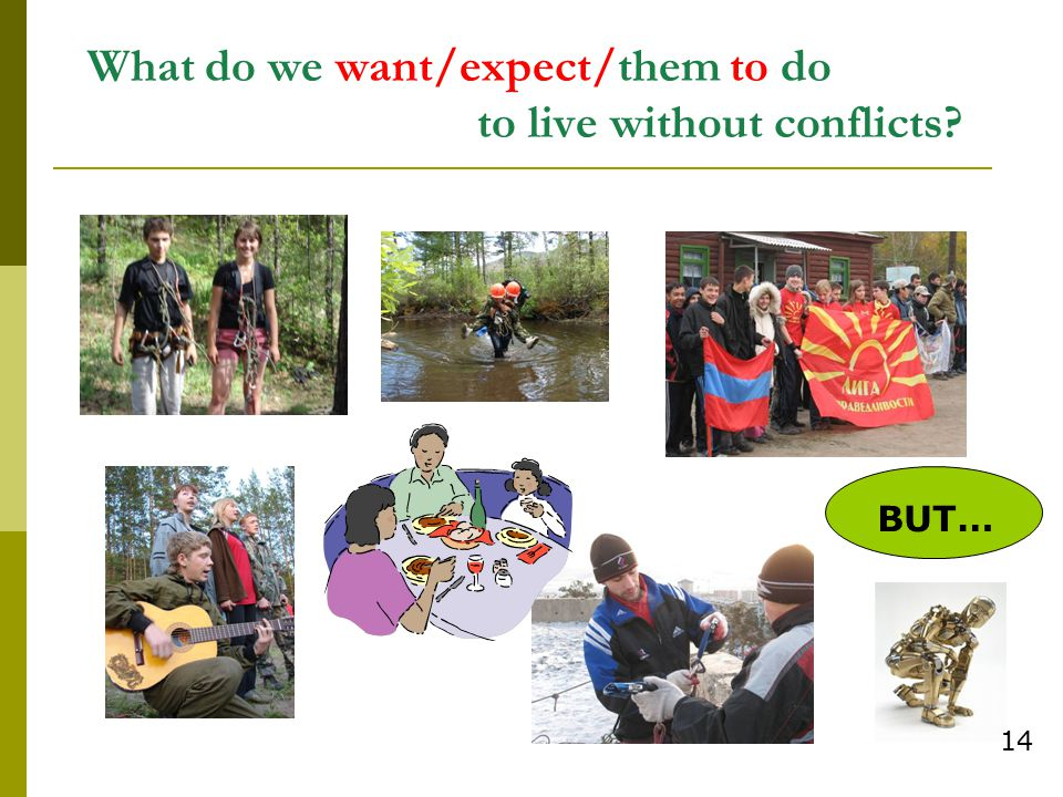 What do we want/expect/them to do to live without conflicts