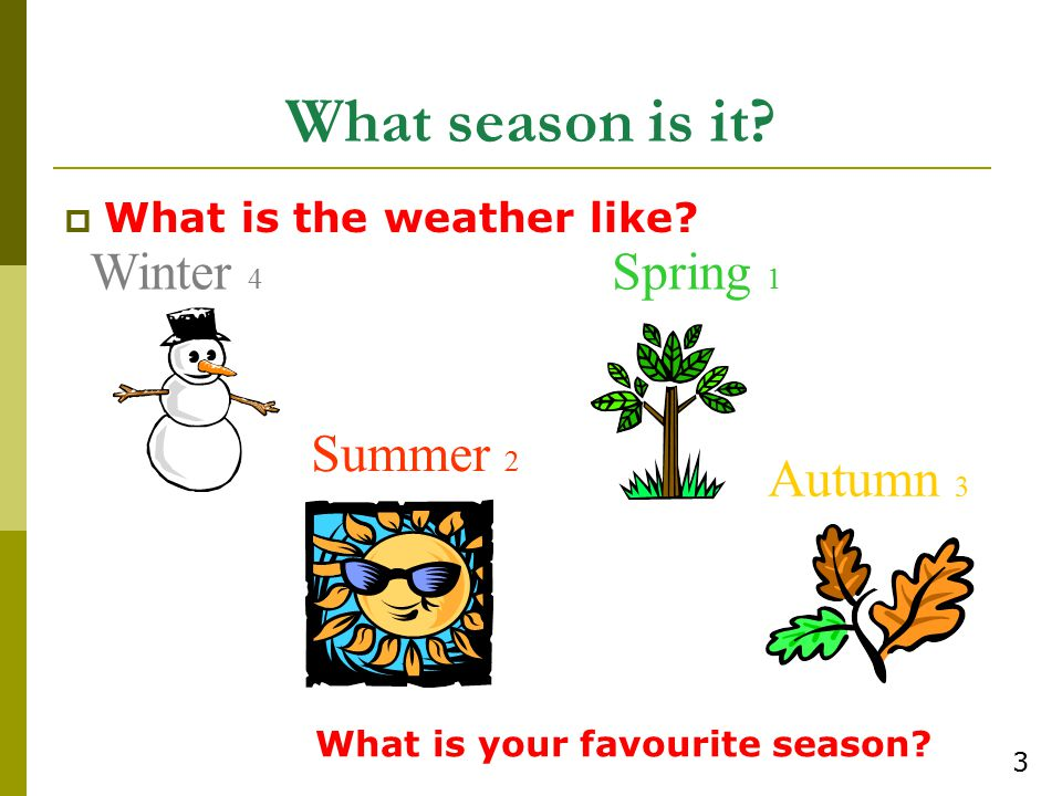 What season is it Winter 4 Spring 1 Summer 2 Autumn 3