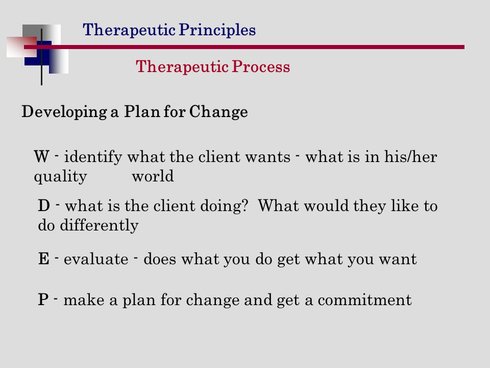 Therapeutic Process Developing a Plan for Change. W - identify what the client wants - what is in his/her quality world.