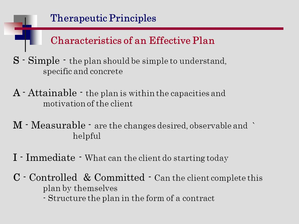Characteristics of an Effective Plan