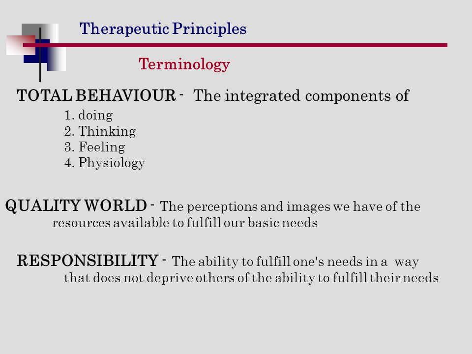 Terminology TOTAL BEHAVIOUR - The integrated components of 1. doing 2. Thinking 3. Feeling 4. Physiology.