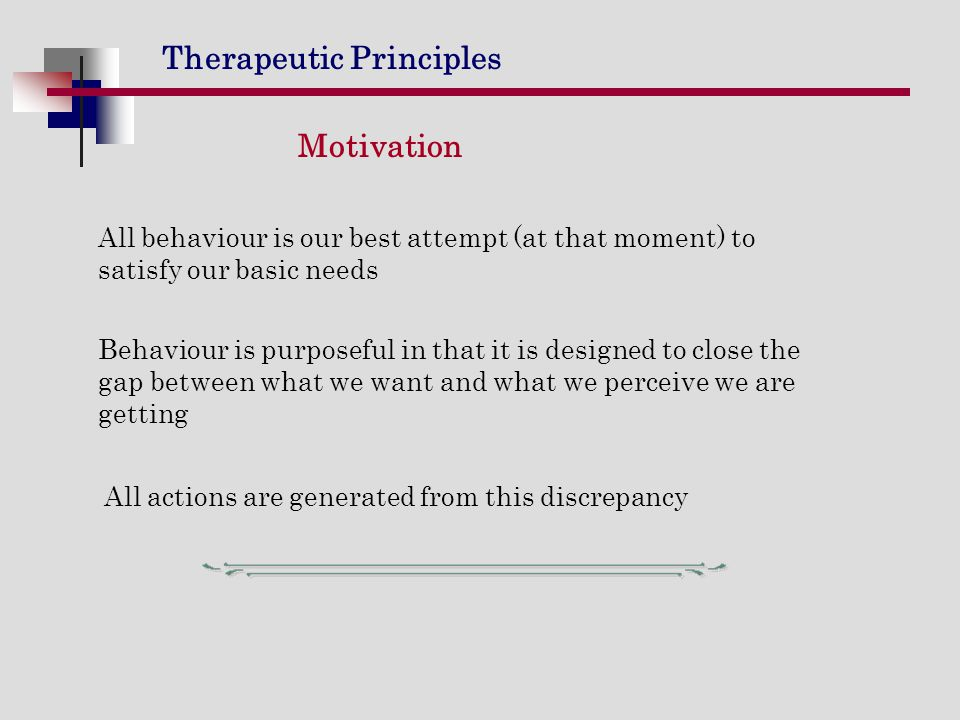 Motivation All behaviour is our best attempt (at that moment) to satisfy our basic needs.