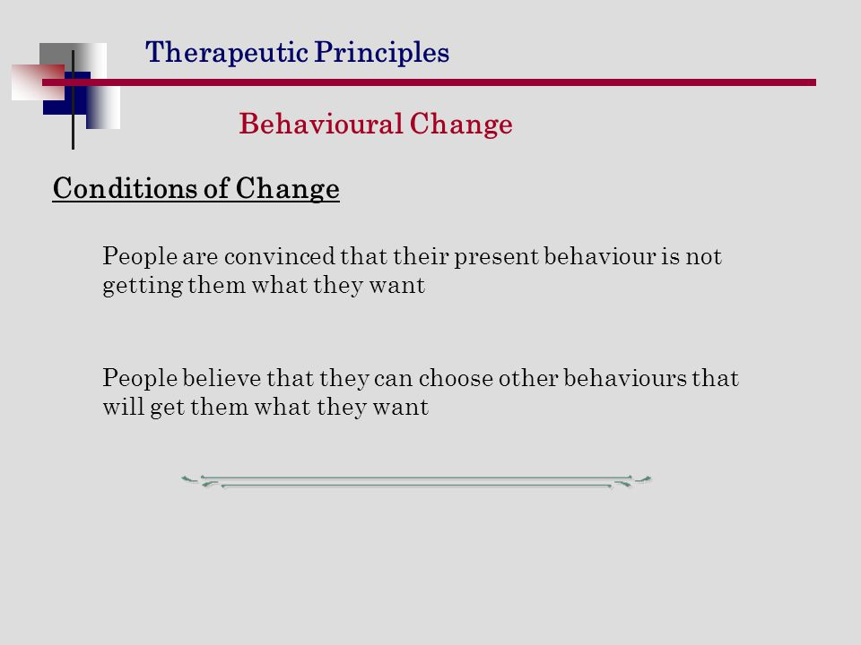 Behavioural Change Conditions of Change