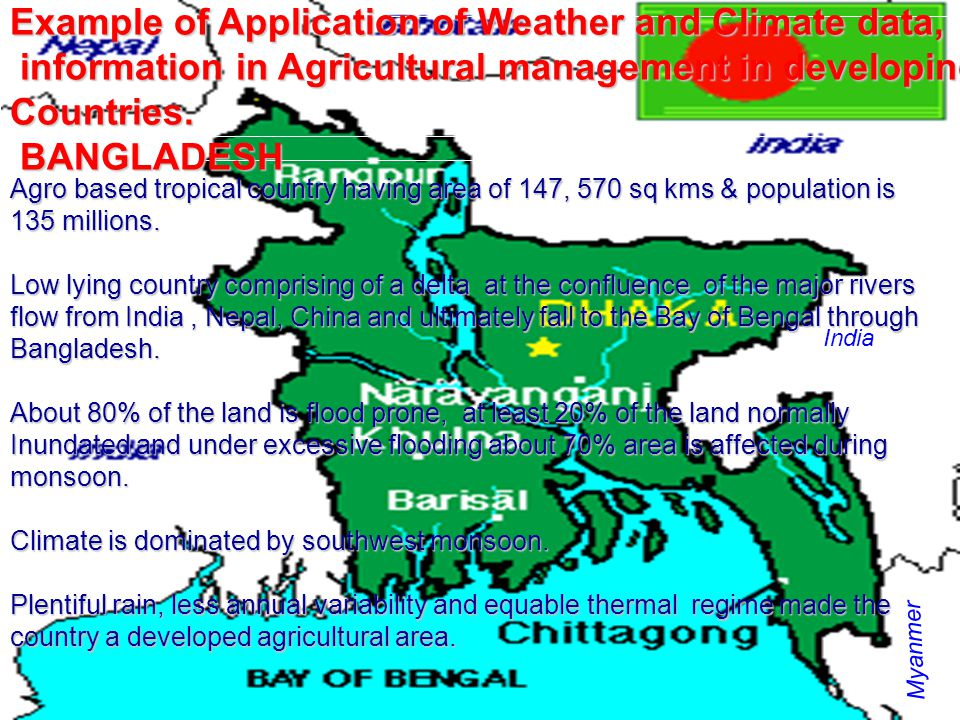 Example of Application of Weather and Climate data,