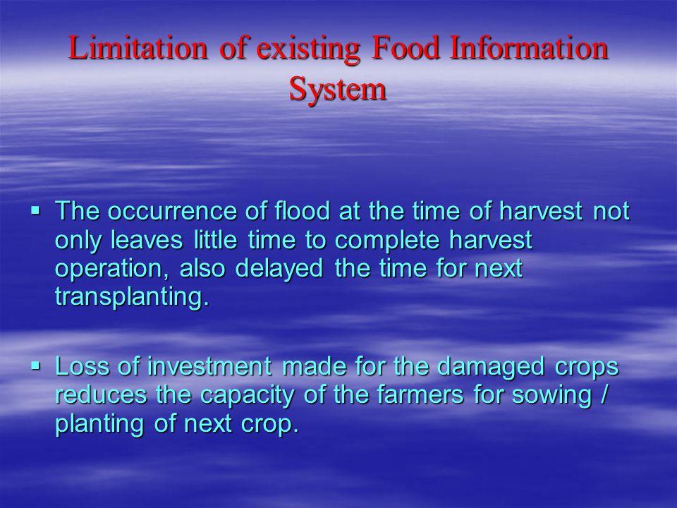Limitation of existing Food Information System