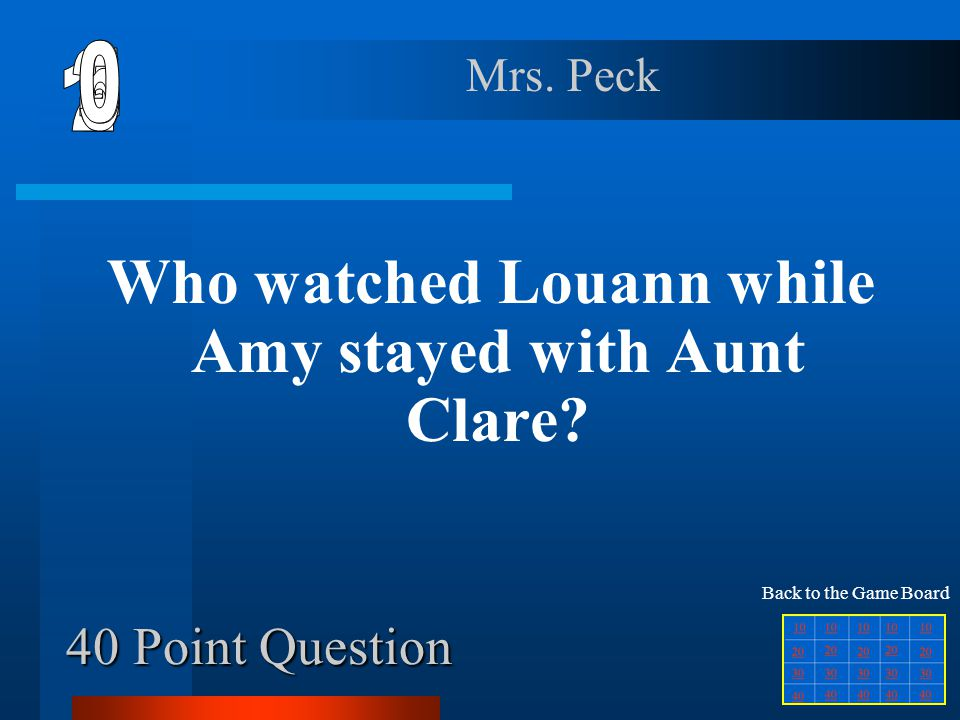 Who watched Louann while Amy stayed with Aunt Clare