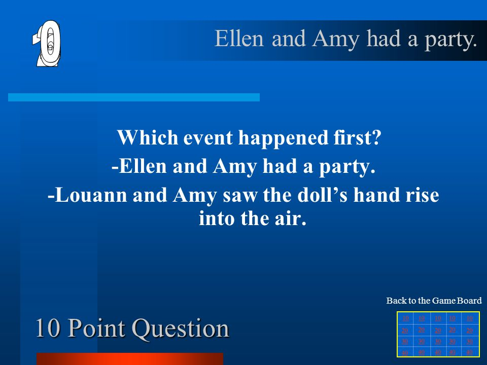 6 1 2 5 4 3 10 Point Question Ellen and Amy had a party.