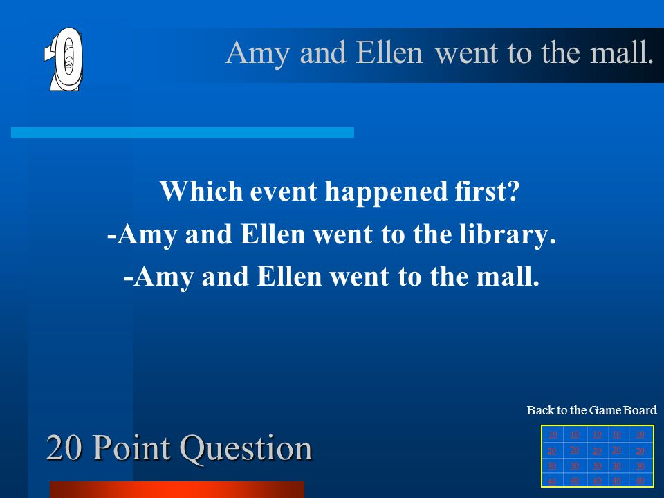 6 1 2 5 4 3 20 Point Question Amy and Ellen went to the mall.