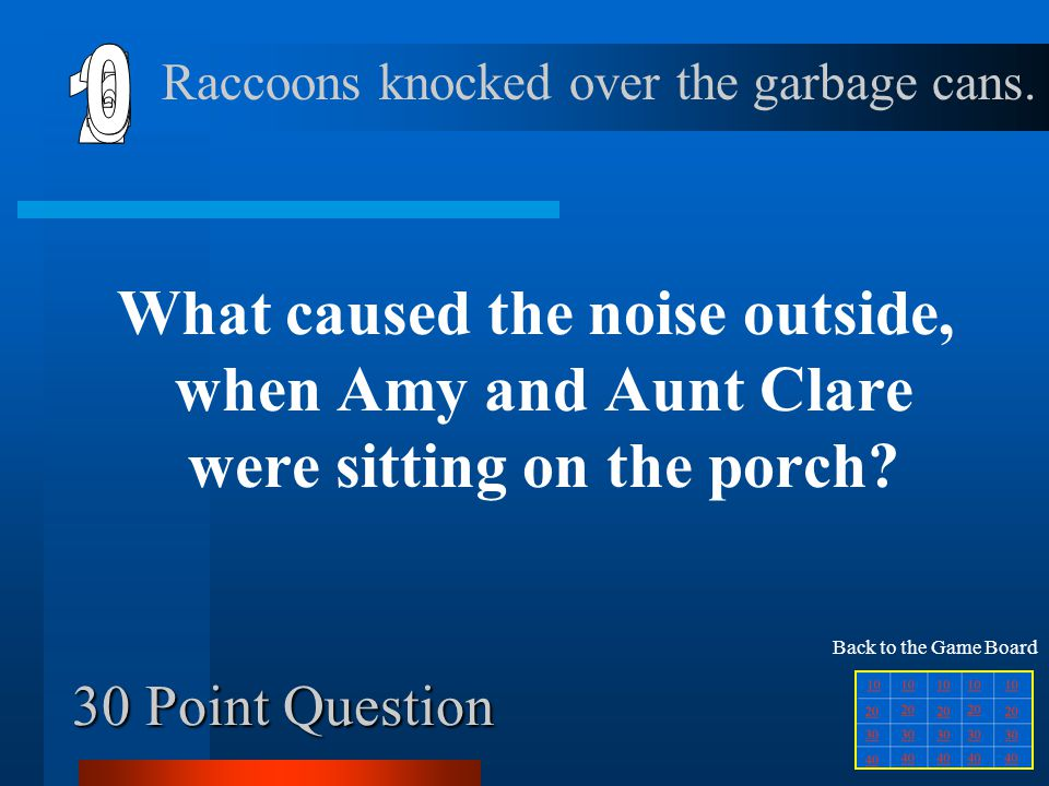 6 1 2 5 4 3 30 Point Question Raccoons knocked over the garbage cans.