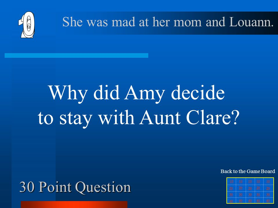 Why did Amy decide to stay with Aunt Clare 6 1 2 4 5 3